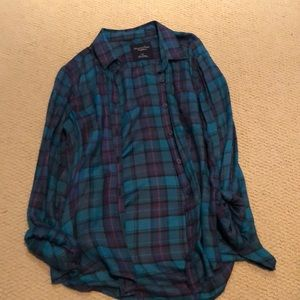 Blue and purple plaid button up shirt